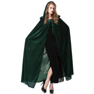 Green Long Witch Cloak Sexy Halloween Cosplay Costume Wonderful Style