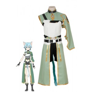Sword Art Online Asada Shino Female Green Cosplay Costume