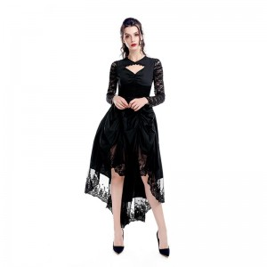 Black Sexy Gothic Victorian Dress Cosplay Costumes-1