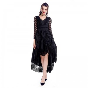 Black Sexy Gothic Victorian Dress With Long Sleeves Cosplay Costume-1