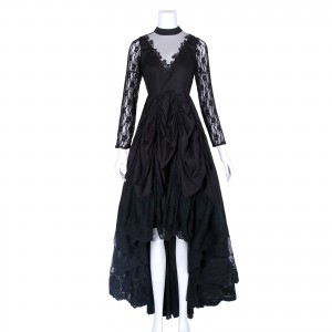 Black Sexy Gothic Victorian Elegant Dress With Waistband Cosplay Costumes-1