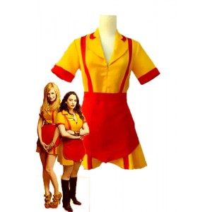 2 Broke Girls Max and Caroline Yellow and Red Cosplay Costumes