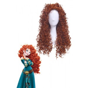 Brave Movie Disguise Pixar Merida Fluffy Curly Orange Women Hair Cosplay Wig