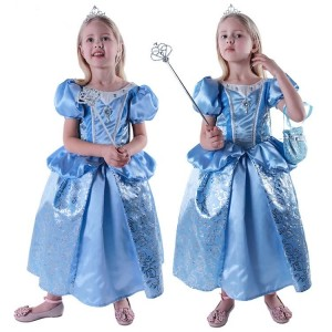 2015 Fashion Blue Children's Costomes Cinderella Princess Dress Cosplay Party Wear