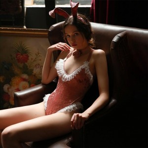 Cute Bunny Girl Pink Lace Velvet Uniform Cosplay Costume