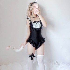 Cute Cat Maid Ruffled One-Piece Swimsuit