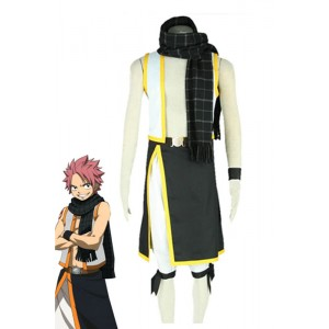 Fairy Tail Natsu Dragneel Cosplay Costume Black And White Suit