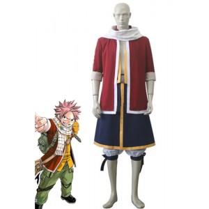Fairy Tail Natsu Dragneel Cosplay Costume Deep Red Coat