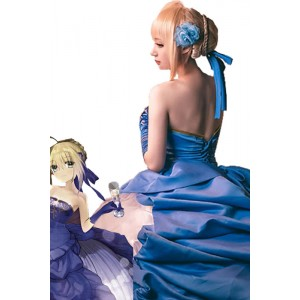 Fate 10th Anniversary Saber Cosplay Costumes Evening Dresses