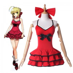 Fate Grand Order Nero Red Swimming dress Anime Cosplay Costumes