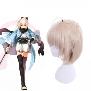 FateGrand Order Okita Souji Saber Blonde Medium Length Cosplay Wigs