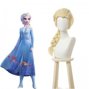 Film Elsa Blonde Ponytail Cosplay Wigs