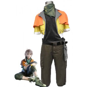 Final Fantasy 13 - Hope Orange And Yellow Coat Army Green Cosplay Costumes
