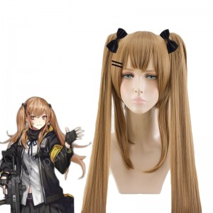 Game Girls Frontline UMP45UMP9 Brown Ponytail Linen Curls Cosplay Wigs