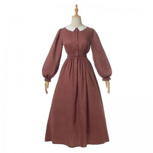 Women Renaissance Victorian Medieval Long Bubble Sleeves Dress