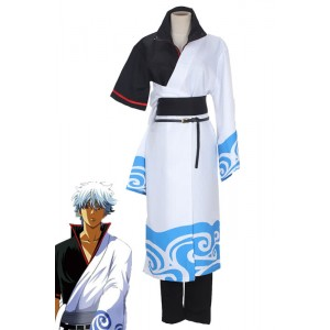 Gintama Sakata Silver Black And White Suit Animation Cosplay Costume