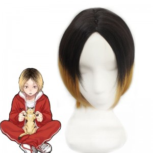 Haikyū!! kozumekenma Black Mixde Yellow long Cosplay Wigs