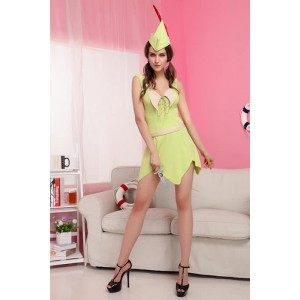 Light Green Ladies Cute Cavegirl Fancy Dress Halloween Costume