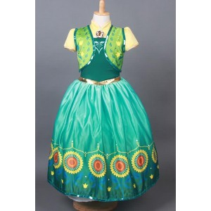 New Beautiful Halloween Anna Princess Dress Coplsay Costume for Kids