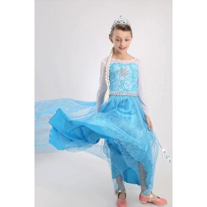 New Blue Elsa Princess Dress Cosplay Costume