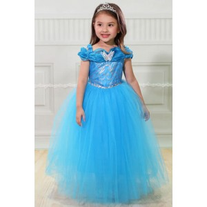 New Beautiful Blue Princess Dress Cosplay Costume for Kids Girl
