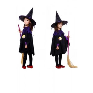 Halloween Costumes for Kids Girls Children Black Fly Female Witch Suit Dress
