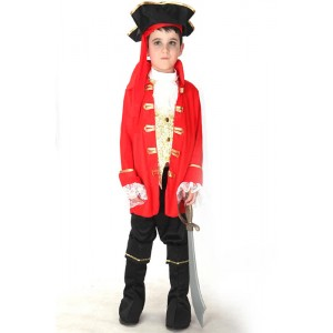 Boy Kids Red Pirate Captain Cosplay Costume for Halloween Performance