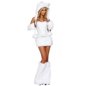 White Wolf Polar Bear Frisky Halloween Cosplay Costume Outfit Fancy Dress For Woman Sexy Halloween Costumes Full Set