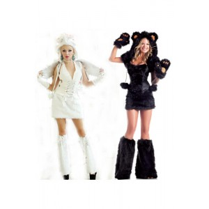 Black and White Women's Sexy Luxury Animal Halloween Fancy Dress Cosplay Costume