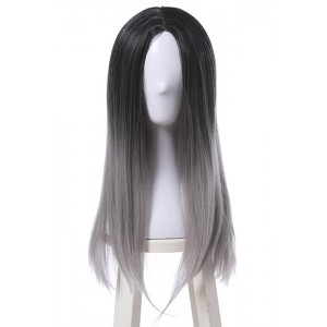 Fashion Black and Gray Mixed Long Stragiht Woman Wigs