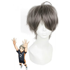 Haikyuu!! Kōshi Sugawara Short Grey Cosplay Wig Man Hair