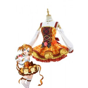 Love Live Bouquet Awaken Kosaka Honoka Orange Dress Anime Cosplay Costumes