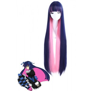 Panty & Stocking with Garterbelt Anarchy Stocking Long Straight Indigo Pink Cosplay Wigs
