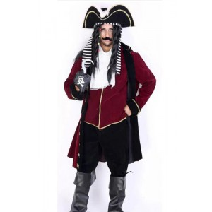 Dark Red Long Robe Suit Pirate Of The Caribbean Soft Cosplay Costume