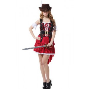New Arrvial Pirate Of The Caribbean Red Female Lovely Suit