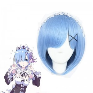 ReZERO -Starting Life in Another World Rem Anime Cosplay Wigs Synthetic Wigs Short Light Blue Bob Hair Wigs