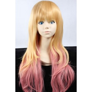 Sheryl Nome Macross Frontier F long 65cm mixed blonde /pink cosplay party wigs