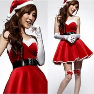 Christmas Costumes Mrs Claus Party Braces Dress with Fur Hat