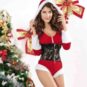 Special Red Women's Christmas Costume Long Sleeve Hooded Jumpsuits