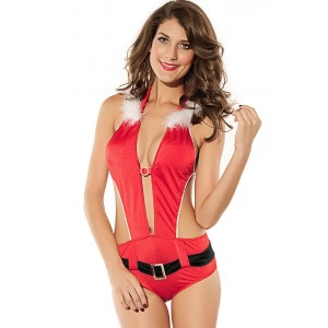 Sexy Red Woman's Christmas Costume Hooded Bikini Set with Belt
