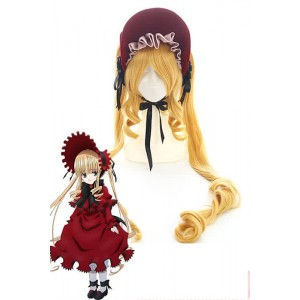 Rozen Maiden Shinku Yellow Long Beautiful Synthetic Anime Cosplay Woman Wigs