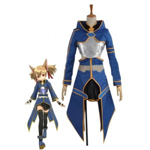 Sword Art Online 2 Ghost Bullet Silica Blue Anime Cosplay Costume