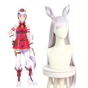 Uma Musume Pretty Derby Gold Ship White Long Cosplay Wigs With Ears