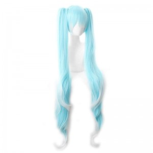 Vocaloid 2019 Hatsune Miku Star and Snow Princess White Blue Mixed Color Cosplay Wigs