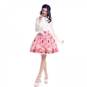 Women Girl Lolita Chiffon Print Bubble Skirt