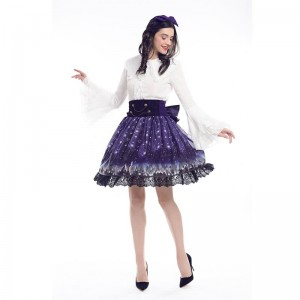 Women Girl Lolita Starry Luxury Chiffon Print Bubble Skirt