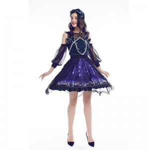 Women Girl Lolita Starry Luxury Chiffon Print Dress