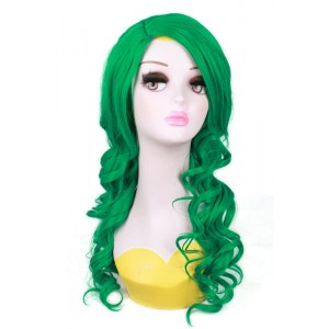55cm Long Green Wave Curly Anime Cosplay Wigs For Women