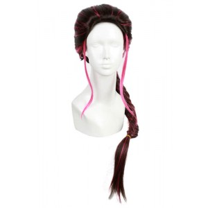 90cm long cosplay wig Mix Black&Cherry red ponytail X-Men movie anime hair