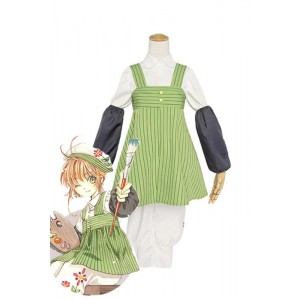 Cardcaptor Sakura Sakura Kinomoto Painter Green Cosplay Costumes
